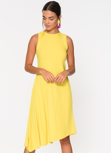 Loves You Kolsuz Asimetrik Elbise Sarı